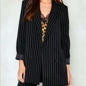 Nasty Gal Eight Paris Striped Velvet Blazer (S)